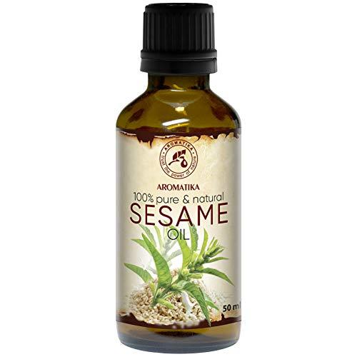 Sesam Öl 50ml - Kaltgepresst & Raffiniert - 100% Natürlich & Rein - Sesamöl - Glasflasche - Basisöl - Mexican - Pflege für Gesicht - Körper - Haare - Schönheit - Massage - Kosmetik