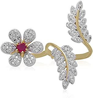 Geode Delight Flowers Leaf Design American Diamond Double Finger Free Size Ring