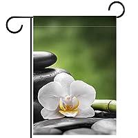 ガーデンフラグウェルカムバナーフラグヤードガーデン屋外装飾オールシーズンの垂直両面アートフラグ禅の玄武岩石の蘭と竹
