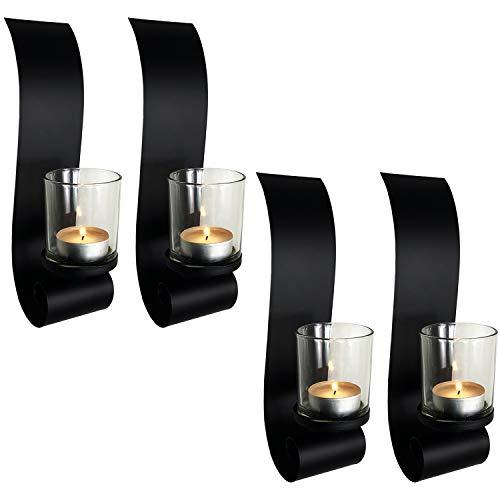 Hochwertige Wandkerzenhalter für Teelichter 4er Set aus Metall für Stumpenkerzen