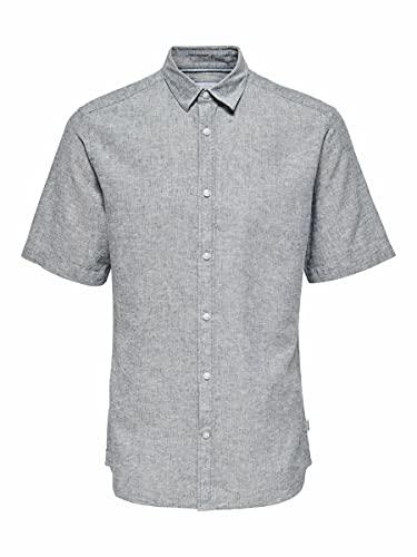 ONLY & SONS Herren ONSCAIDEN SS Linen Shirt NOOS Hemd, Dress Blues, XL