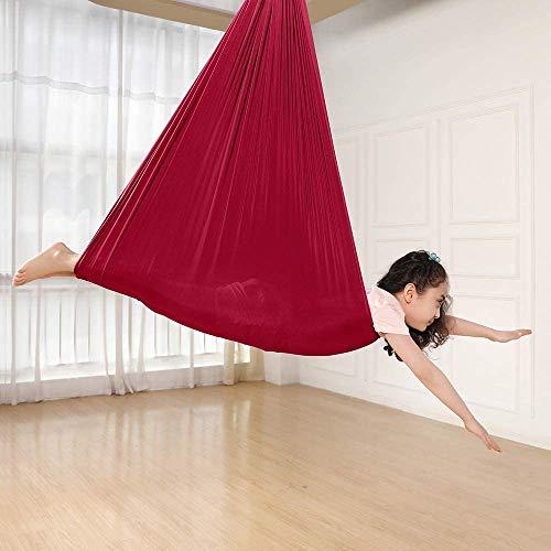 Kcanamgal Swing Therapy Swing para niños con Necesidades Especiales Snuggle Swing Cuddle Hammock para niños con Autismo, TDAH,Rojo,150x280cm