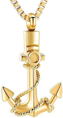 Ancla Collar de urna de cremación Moda Navy Sailor Memorial Cenizas Titular Recuerdo Colgante Joyería