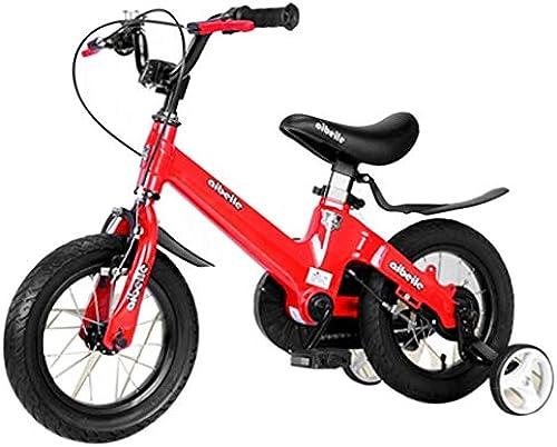 Kinderfahrrad Kinderfahrrad Magnesiumlegierung 12 14 16 Zoll Doppelscheibenbremsen ein Rad Fahrrad mit Stabilisator und Korb Kinderfahrrad (Farbe   rot, Größe   B)