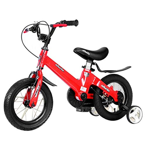 Best Bargain Children's Bicycle Children's Bicycle Magnesium Alloy 12/14/16 inch Dual disc Brakes one Wheel Bicycle with stabilizer and Basket Child Pedal Bicycle (Color : Red, Size : D)