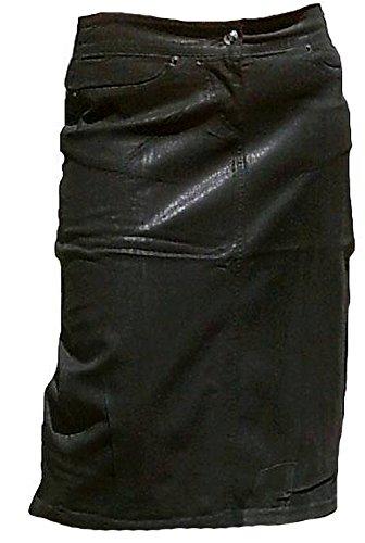 Fornarina Mujer Jeans Rock negro black encerada Model Supple de STR. Gabardine Falda Elástico aspecto de piel Rock Star Gótico Designer Notebook Top Oferta negro