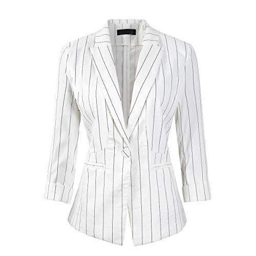 Womens Stripe 3/4 Sleeve Lightweight Office Work Suit Jacket Boyfriend Blazer (191 White, M)