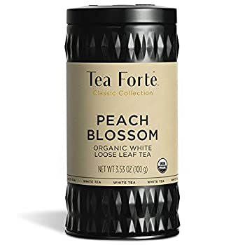 Tea Forte Peach Blossom Organic White Tea Makes 35-50 Cups 3.53 Ounce Loose Leaf Tea Canister