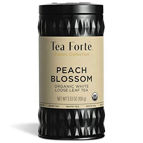 Tea Forte Peach Blossom Organic White Tea, Makes 35-50 Cups, 3.53 Ounce Loose Leaf Tea Canister