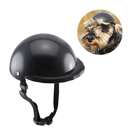 LESYPET Dog Helmet -Paded Pet Motorcycle Helmet Safety Cap for Small Cats Dogs' Biking Cycling, Black M