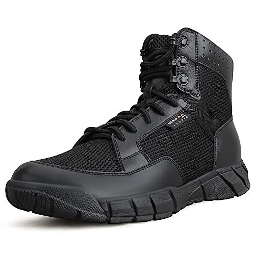 QUNLON stivali da uomo botas militares bota táctica per escursionismo, caccia, lavoro, allenamento militare, Combat 19A-1-W-Black-43EU