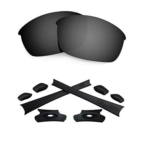 HKUCO For Oakley Flak Jacket Black Polarized Replacement Lenses And Black Earsocks Rubber Kit