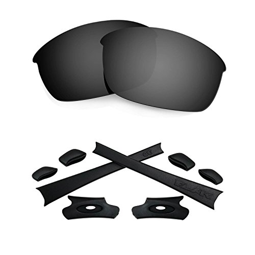 HKUCO For Oakley Flak Jacket Black Polarized Replacement Lenses And Black Earsocks Rubber Kit