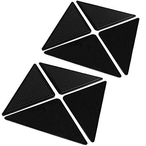Xinlie 8 Stück Teppich Anti Rutsch Unterlage Selbstklebende Anti Rutsch Teppichunterlage Wiederverwendbare Waschbar Antirutschmatte für Teppich für Büro Schlafzimmer Küche Badezimmer Schwarz