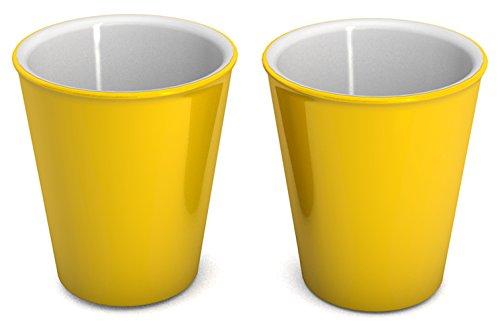 Ornamin Becher 300 ml gelb, 2er-Set (Modell 1206) / nachhaltiger Mehrweg-Becher Kunststoff