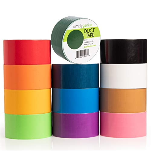Simply Genius (12 Pack) Patterned and Colored Duct Tape Variety Pack Tape Rolls Craft Supplies for Kids Adults Patterned Duct Tape Colors, Solid Colors