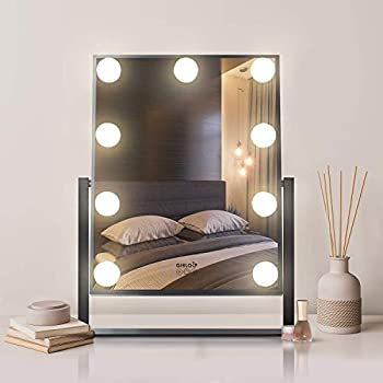 Makeup Vanity Mirror with Hollywood Lights Plug in Light-up Professional 3 Color Lighting Modes 9 Dimmable Led Bulbs 360° Rotation Design Dressing Room Bedroom Large Size