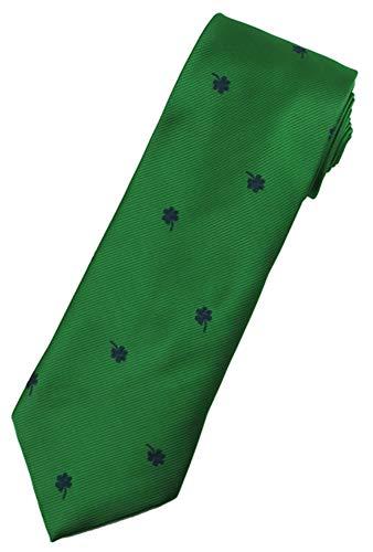 Jacob Alexander Men's Solid Green Here's to the Irish Navy Shamrocks Regular Length Neck Tie