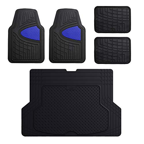 FH Group F11311 + F1640 Premium Tall Trimmable Channel Rubber Floor Mats (Blue) Full Set - Universal Fit for Cars Trucks and SUVs