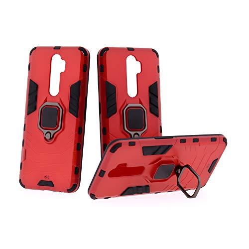 Max Power Digital Funda Antigolpes para móvil OPPO A9 2020 / OPPO A5 2020 con Soporte Anillo Metálico Magnética Imán - Carcasa Híbrida Antigolpes Resistente (OPPO A9 2020 / OPPO A5 2020, Rojo)