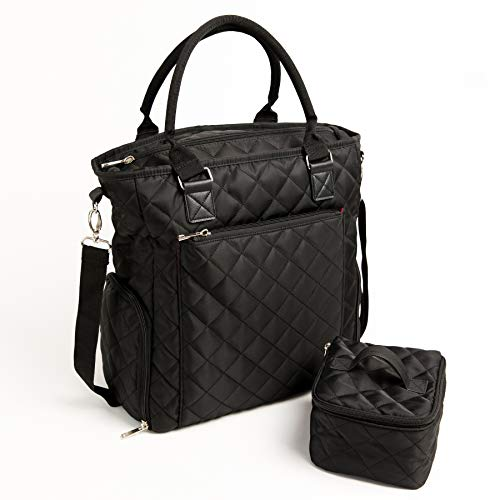 Marigold Breast Pump Bag - Black Quilted Tote for Storing Pump and Transporting Milk. Includes Insulated Cooler and Large Side Pockets That fit Most Pumps Including Spectra & Medela.