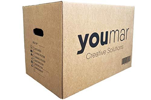 Youmar Solutions - 10 Cajas de Cartón para Mudanza (Talla XL) con Asas - Extra Resistentes Fabricadas en España - 55x34x39cm Gramaje Ultra Resistente 600g/m2 - Combina las Cajas de Cartón (M/XL)