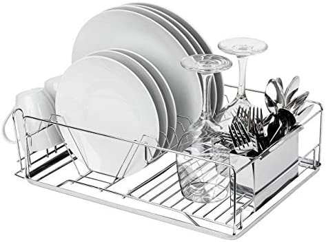 Homexperts Full Size Stainless Steel Dish Rack Sleek Multifunctional Dish Drying Rack Removable product image