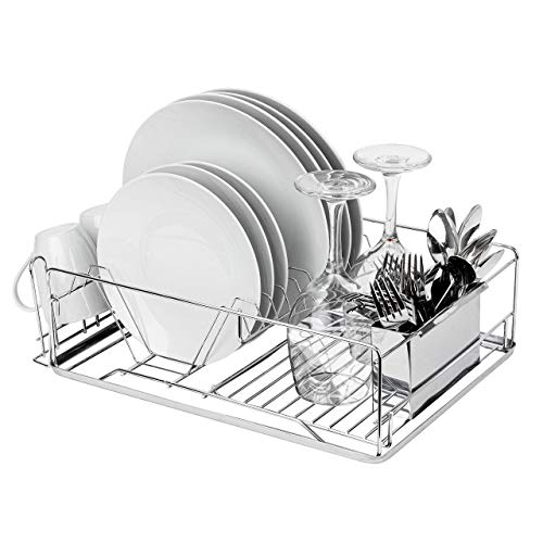 Homexperts Full Size Stainless Steel Dish Rack | Sleek Multifunctional Dish Drying Rack | Removable Tray, Glass Holder, & Fork/Knives Holder | Escurridor de platos – Rust Resistant