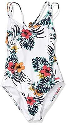 Roxy Girls' Big Love Waimea One Piece Swimsuit, Bright White Badami, 12