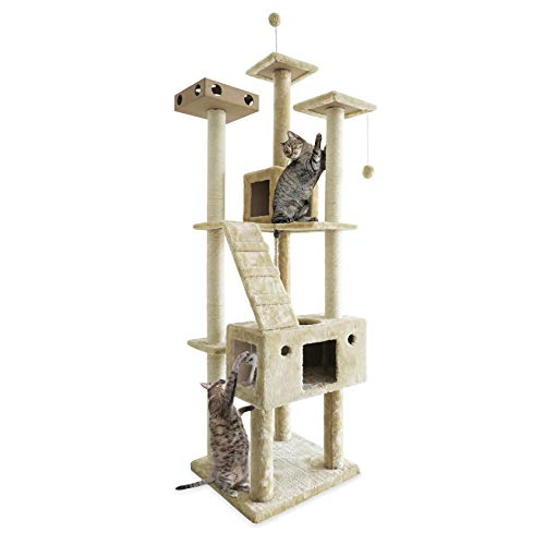 Furhaven Pet Cat Tree - Tiger Tough Cat Tree House Condo Entertainment Playground Furniture for Cats and Kittens, Double Decker Playground, Cream