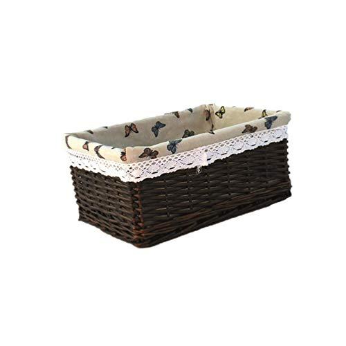 DOITOOL Cesta de almacenamiento de mimbre con forro de tela, cesta organizadora de escritorio, contenedor de escritorio, cestas de escritorio, cestas para baño, oficina, 30 x 20 x 12 cm, café