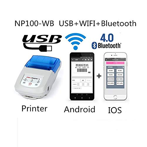 NYEAR 58-10mm (Adjust) Label Receipt Printer,Personal Printer Mini Wireless Bluetooth Printer Apple iOS and Android Systems, Printer Compatible with ESC/POS Print Commands Set (Bluetooth+WiFi)