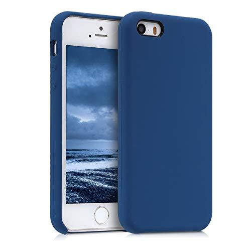 kwmobile Funda Compatible con Apple iPhone SE (1.Gen 2016) / 5 / 5S - Carcasa de TPU para móvil - Cover Trasero en Azul Oscuro