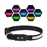 PcEoTllar LED Leuchthalsband Hunde Halsband USB Wiederaufladbar Wasserdicht 7 Farbwechsel Halsband Hund Klein Groß Mittel Super Helle Sicherheit für Die Nacht - Schwarz - S