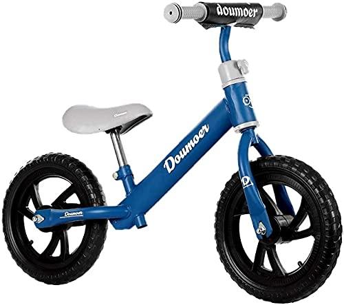 Bicicleta de equilibrio, Bicicleta de equilibrio de 2 a 6 años hasta 50 kg Cuadro de magnesio Ruedas de 12 pulgadas Volante y sillín de altura ajustable Bloqueo del volante Reposapiés Asa de transpo