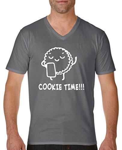 Comedy Shirts - Cookie time! Keks - Herren V-Neck T-Shirt - Dunkelgrau/Weiss Gr. XL