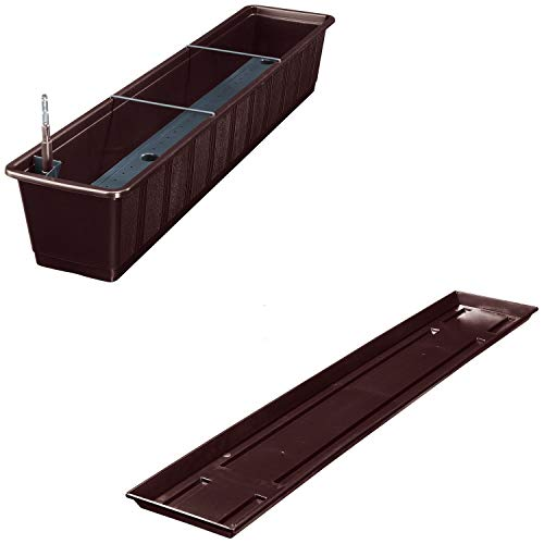 Balkonkasten Aqua Green Plus mit Bewässerung und Passendem Untersetzer, Farben:braun 08, Länge:100 cm