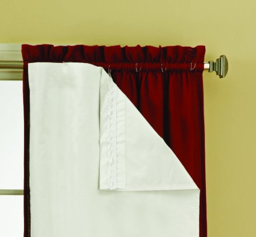 "Eclipse Solid Blackout Thermal Insulated Window Curtain Liners With Drapery Hooks For Easy Attachment, Noise Reduction, Two Panels, 54"" x 92"", White"