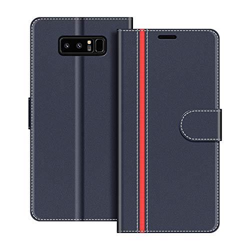 COODIO Handyhülle für Samsung Galaxy Note 8 Handy Hülle, Samsung Galaxy Note 8 Hülle Leder Handytasche für Samsung Galaxy Note 8 Klapphülle Tasche, Dunkel Blau/Rot