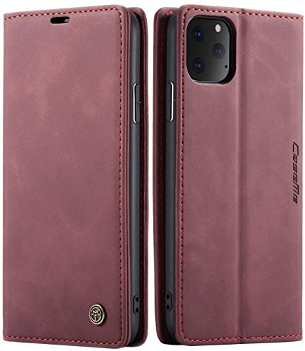 SINIANL iPhone 11 Wallet Case iPhone 11 Leather Case, Book Folding Flip Case with Kickstand Credit Card Slot Magnetic Closure Protective Cover for Apple iPhone 11 2019 6.1 inch - Wine Red
