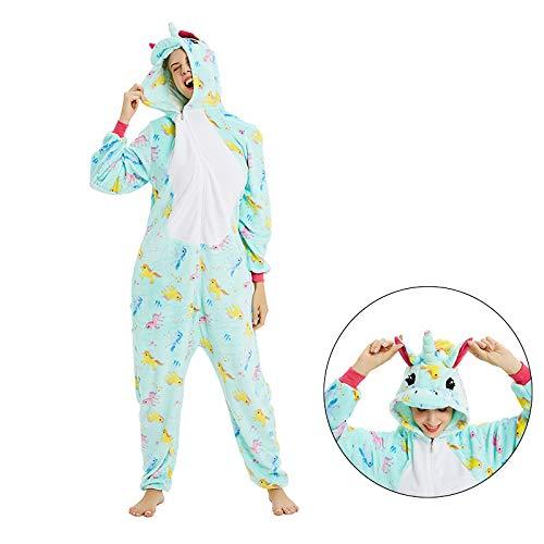 HJG Frauen Tier Onesies Pyjamas Unicorn Kostüm, Strampelanzug Plüsch mit Kapuze Pyjama Nachtwäsche Housewear,S