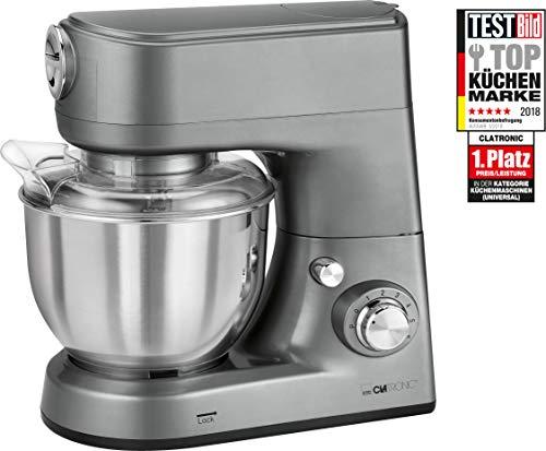 Clatronic KM 3648 krachtige multifunctionele keukenmachine, 1000 W, 5 l roestvrijstalen mengkom, titanium