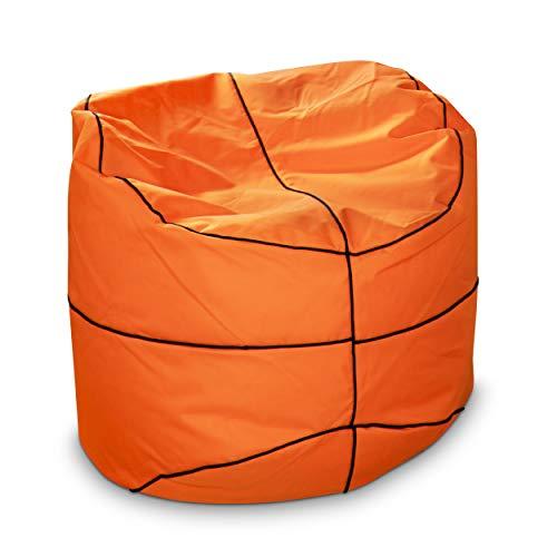 Green Bean © Basketball Sitzsack 90x90 cm - 300 Liter EPS Perlen Füllung - PVC Bezug - Indoor & Outdoor Beanbag - Sitzkissen Bean Bag Bodenkissen - Gamingstuhl Sessel für Kinder & Erwachsene - Orange