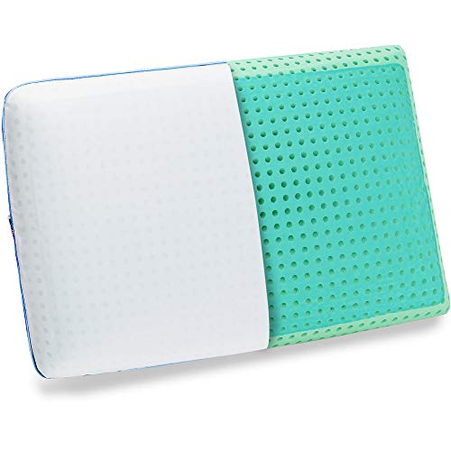 wavveUziz Gel Cooling Pillow, Soft Memory Foam Pillow with Ice Fiber, Soft Tex Pillow for Side, Back, Stomach Sleepers - Latest Cool Tech Pillow PCM - Self Cooling Pillow for Sleeping, Standard