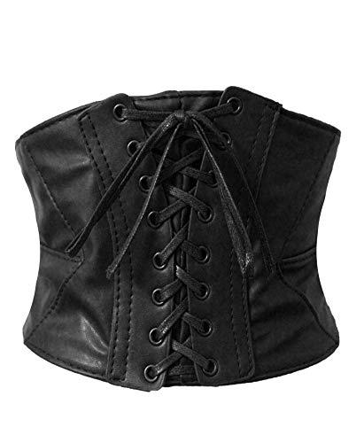 Alivila.Y Fashion Women's Faux Leather Underbust Waist Belt Corset A14-Black-M
