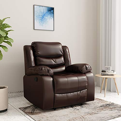 Amazon Brand - Solimo Delphi Single Seater Leatherette Recliner (Brown)