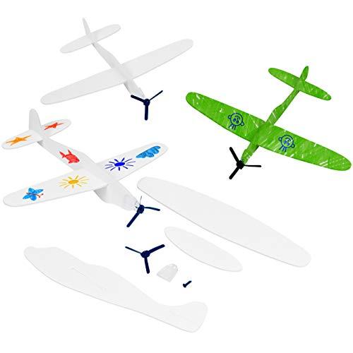 24 Gestalte es Selbst Gleitflugzeuge Spielzeug| Kinder Styroporflieger zum Zusammenbauen & Ausmalen| DIY, Basteln, Kreativset, Weihnachten, Kindergeburtstag Geschenk Mitgebsel Mitbringsel.