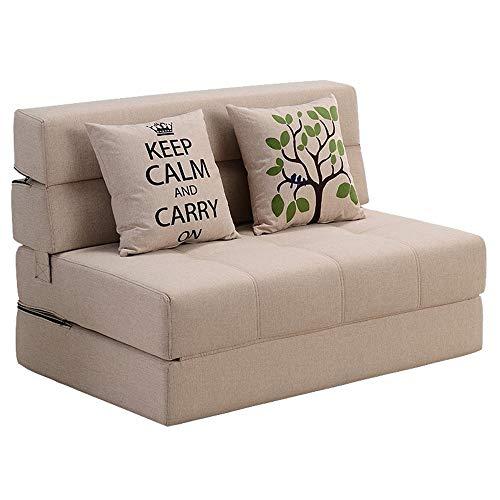 H-ei Divano Letto Pieghevole a Doppio Uso Divano Pigro Sedia Multifunzionale sfoderabile Tatami Bean Bag Chair Handsel Pillow Four Specifiche (Color : Khaki, Size : C)