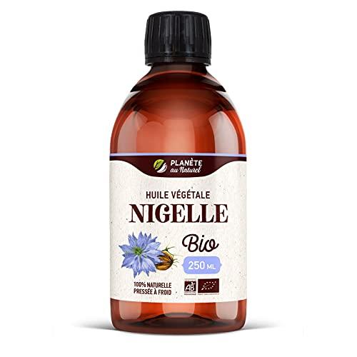 Huile de NIGELLE Bio - 250ml - AB - Planète au Naturel - Pure, Naturelle et Pressée à froid - Alimentaire - Cheveux, Corps, Ongles