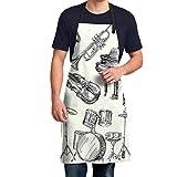VFBGF Delantal Jazz Music Duvet Cover Set Men Polyester Apron - 35inch Cloth Waterproof and Dustproof Pocket Adjustable Durablefor Kitchen Cooking, Drawing, Housework